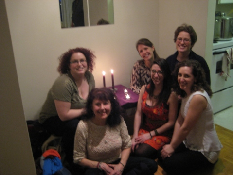 Ok, So jeremie's photography skills have left something to be desired (it's blurry Jer :P) but here are the lovely ladies from the Seder. Back row (l-r) myself, Brig, Leah. Front row (l-r) Helene, Andrea, Jess.